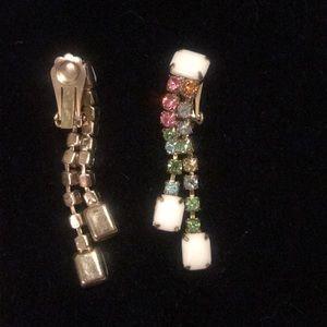 Vintage clip on dangle earrings